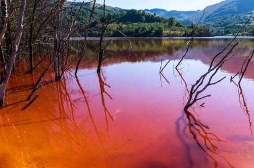 Auch wenn die Farbe längst nicht so auffällig ist wie auf diesem Foto: Rot gefärbtes Bachwasser bei Blumberg gibt derzeit Rätsel auf. (Symbolfoto) Foto: Mihai Simonia/ Shutterstock