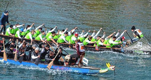 """In Aktion: Beim Armada-Cup-Endspurt, ein Rennen über neun Kilometer in Bern, lieferten sich die Grenzacher """"Hornfelsedrache"""" (oben in grün) einen harten Kampf gegen ihre  Paddelfreunde aus Schwörstadt.   Foto: zVg Foto: Die Oberbadische"""