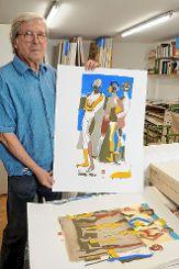 Bruno Haas mit einem schönen figürlichen Blatt. Foto: Markgräfler Tagblatt
