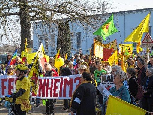 Am Wasserkraftwerk Fessenheim versammelten sich die rund 6000 Demonstranten.  Foto: Dorothee Philipp Foto: Weiler Zeitung