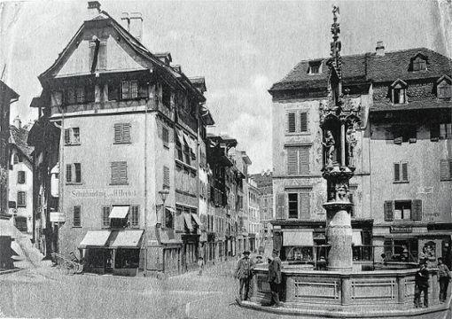 Basel einst und heute: Der Fischmarktbrunnen auf einer Postkarte aus den 1860er-Jahren. Foto: Staatsarchiv Basel-Stadt