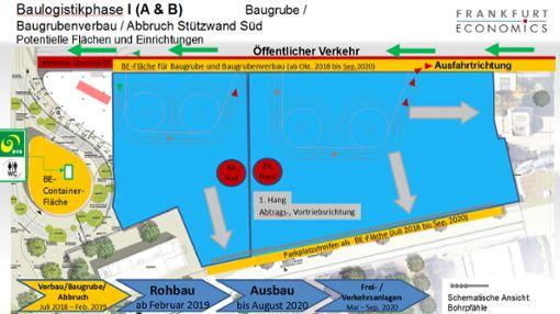 """Diese Darstellung zeigt das Baufeld (blau), auf dem die """"Dreiländergalerie"""" errichtet wird.   Skizze: """"Frankfurt Economics"""" Foto: Weiler Zeitung"""