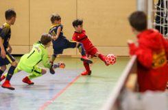 Im U10-Turnier erreicht der FVLB (rotes Trikot) als  Dream-Team Hochrhein das Viertelfinale. Foto: Die Oberbadische