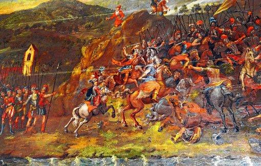 Ausschnitt aus dem Riesengemälde von 1771 in der Wallfahrtskapelle in Schönenbuchen.  Foto: Georg Diehl Foto: Markgräfler Tagblatt