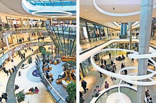 Shoppingcenter müssen sich ständig etwas Neues einfallen lassen, wenn sie attraktiv bleiben wollen (links das Milaneo, rechts das Gerber in Stuttgart). Foto: Wilhelm Mierendorf