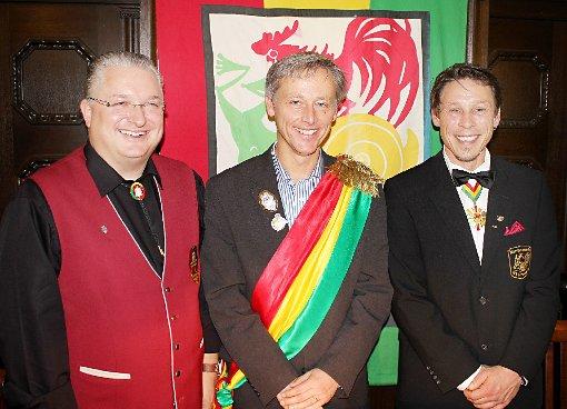 Der neue Protektor Michael Wilke mit Stephan Vogt (r.) und Jörg Roßkopf  Fotos: Bernhard Konrad Foto: Die Oberbadische