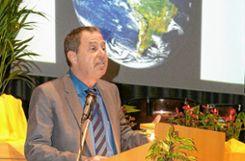 Bürgermeister Andreas Schneucker bei seiner durchaus auch umweltbewegten Neujahrsansprache. Foto: Alexandra Günzschel