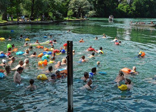 Das grenzüberschreitende Rheinschwimmen wird um eine Woche vorverlegt.   Foto: Archiv Foto: Die Oberbadische