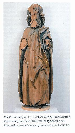 Während der Reformation beschädigte Holzfigur aus der Rümminger Jakobuskirche Foto: Weiler Zeitung