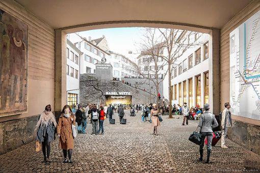 So soll die neue Haltestelle Basel-Mitte einmal aussehen.    Illustration: Herzog & De Meuron
