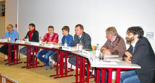 Auf dem Podium saßen (von links):  Tilo Levante (FDP), Philipp Schließer (SPD), die Moderatoren Benedict Osterrath und Florian West, Ulrich Lusche (CDU), Günter Holl (Grüne) und Matteo di Prima (Die Linke)  Foto: Rolf Reißmann Foto: Die Oberbadische