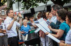 Impressionen des Fronleichnamsgottesdienstes auf dem Alten Marktplatz. Foto: Kristoff Meller  Foto: mek