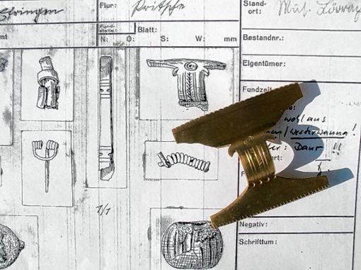 So könnte sie ausgesehen haben, die Fibel von der Nordseeküste, deren Reste 1902 auf der Britsche gefunden wurden. Ausgeknobelt vom Museum Efringen-Kirchen, ausgeführt von Isabell Kollmer, Lahr. Foto: Weiler Zeitung