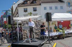 """Unter dem Motto """"Wir können Klimaschutz"""" fand am Samstag der dritte Energie- und Umwelttag der Stadt Lörrach auf dem Alten Markt statt. Foto: Regine Ounas-Kräusel Foto: mek"""