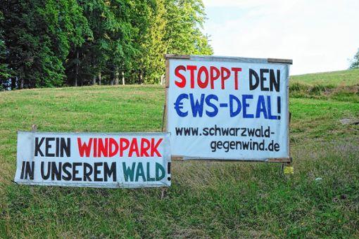 Diese Banner der Initiative Schwarzwald Gegenwind finden sich  unweit des Böllener  Ortseingangs.     Foto: Gudrun Gehr Foto: Markgräfler Tagblatt