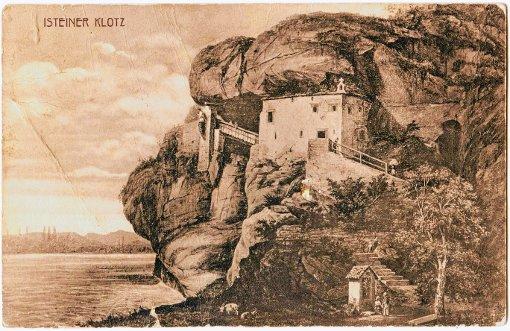 Diese historische Ansicht vom Isteiner Klotzen zeigt die noch intakte Veitskapelle.   Foto: Museum Foto: Weiler Zeitung