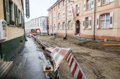 Der Baustellenzaun beim Dreiländermuseum wurde umgeworfen. Foto: Kristoff Meller