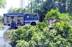 Ein Unwetter sorgte am Sonntagnachmittag in Lörrach für einen Großeinsatz von Feuerwehr und Technischem Hilfswerk (THW). Foto: Alexander Anlicker Foto: anl