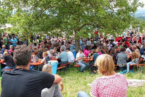 Hochbetrieb in den Reben am Tüllinger  gab es  gestern beim  Rettichfest der Haltinger Feuerwehr.     Foto: Ralph Lacher Foto: Weiler Zeitung