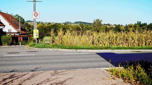 Am Ortsrand Richtung Wittlingen ist eine Verkehrsinsel zur Überquerung der Wittlinger Straße geplant.    Foto: Daniela Buch Foto: Weiler Zeitung