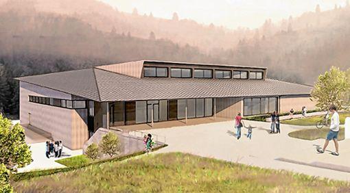 So soll die neue Mehrzweckhalle in Schönau  aussehen.   Vorlage: Architekturbüro Moser Foto: Markgräfler Tagblatt