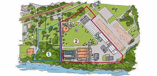 Die Fläche des Perimeters 2 (BASF) der Kesslergrube umfasst rund 32000 Quadratmeter und ist damit mehr als doppelt so groß wie der Perimeter 1 (Roche).  Teile des Areals sind mit Industriegebäuden sowie der Kläranlage der BASF und der Gemeinde Grenzach-Wyhlen überbaut.  Grafik: BASF Foto: Die Oberbadische