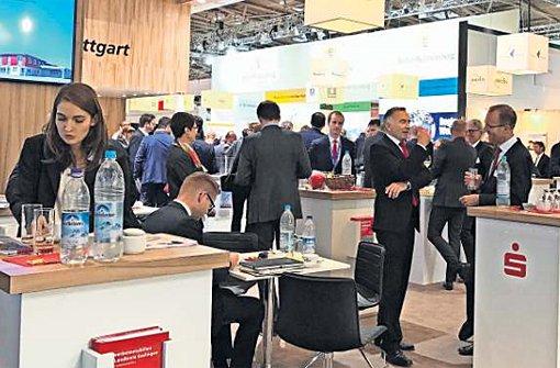 Treffpunkt der Immobilienwirtschaft – der Stand der Wirtschaftsförderung Region Stuttgart auf der Expo Real in München. Foto: Dalcolmo
