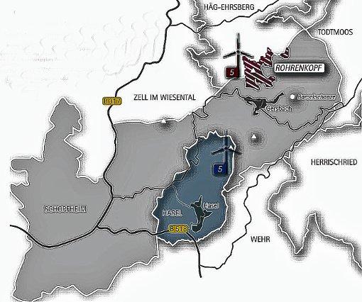 Die Stadt wehrt sich gegen die Ausweisung des Glaserkopfs als Windpark-Standort im Regionalplan. Grafik: dezent-zivil Foto: Markgräfler Tagblatt