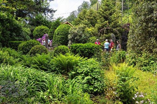Die Besucher genossen den Rundgang durch den blühenden Garten mit seinen vielen Rückzugsmöglichkeiten. Foto: Markgräfler Tagblatt