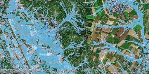 Im Geoportal stehen Bürgern Starkregen-Gefahrenkarten für das Markgräflerland zur Verfügung – hier beispielhaft das Szenario mit extremer Überflutungsausdehnung in Fischingen in Luftbild-Ansicht. Foto: zVg