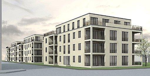 Ansicht von den vier Mehrfamilienhäusern, die auf dem Johannesareal an der Goethestraße entstehen sollen.      Foto: zVg Foto: Weiler Zeitung