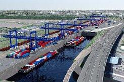 """So soll """"Gateway Basel Nord"""" aussehen. Neben dem neuen Terminal liegen das Hafenbecken und die Autobahn.   Foto: zVg Foto: Weiler Zeitung"""