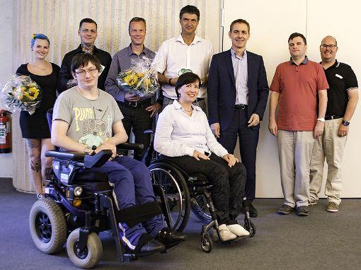 Engagieren sich für  Barrierefreiheit (hinten v.l.): Natzge Schauliess , Mick Gäntzel, Ulf Sörensen, Stefan Korol, Jörg Lutz, Dirk Furtwänger, Jan Wenner (Behindertenkoordinator Stadt) sowie  Oskar Sommer  und Irena Rietz (vorne, beide Behindertenbeirat).   Foto: zVg Foto: Die Oberbadische