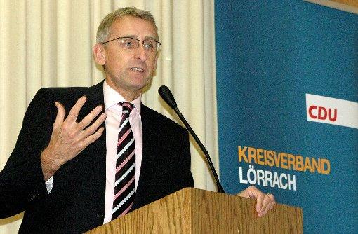 Der wiedergewählte CDU-Kreisvorsitzende, Armin Schuster, kritisierte die Grünen.  Foto: Marco Fraune Foto: Die Oberbadische