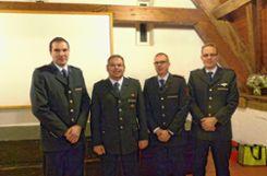 Sie leiten die Stadtabteilung der Kanderner Feuerwehr: (von links) Christophe Barreca, Markus Brunner, Matthias Meisinger und Florian Sprich.Foto: Anika Lenke Foto: Weiler Zeitung