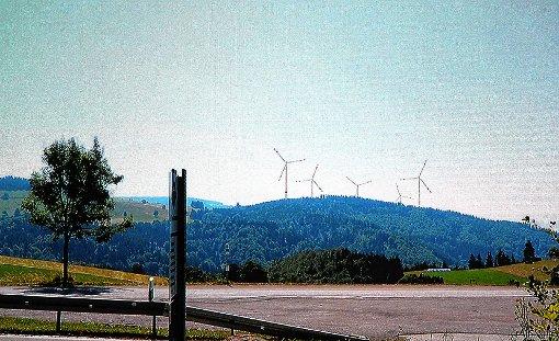 Mögliche Windräder auf Hasler Gemarkung – vom Parkplatz in Schlechtbach aus gesehen.   Visualisierung: Linné3D Foto: Markgräfler Tagblatt