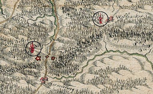 Ausschnitt aus der historischen Karte von 1701 mit  örtlichen Signal- und Alarmfeuer-Standorten (eingekreist; rechts oben das Feuer vom Wolfsacker).   Foto: Störk Foto: Markgräfler Tagblatt