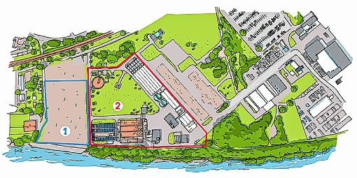 Der zu BASF gehörende Teil der Keßlergrube (Perimeter  2), der ummantelt werden soll,  umfasst eine Fläche von rund 32000 Quadratmetern. Der im Verantwortungsbereich von Roche liegende Perimeter 1 wird vollständig ausgehoben.   Grafik: Pressefoto BASF Foto: Die Oberbadische