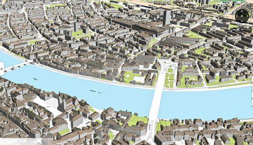 So sieht die neue dreidimensionale Karte von Basel aus. Die Nutzer sollen damit zahlreiche Sonderfunktionen nutzen können und finden Antworten auf zahlreiche Fragen.   Illustration: zVg/Bau- und Verkehrsdepartement Foto: Die Oberbadische