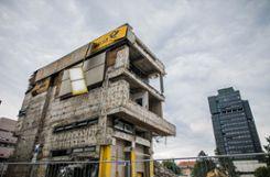 Der Abriss des Postgebäudes Foto: Kristoff Meller Foto: mek
