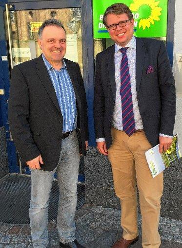 Trafen sich zu einem ersten Gedankenaustausch: Grünen-MdL Josha Frey (links) und Bürgermeister Tobias Benz.  Foto: zVg Foto: Die Oberbadische