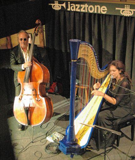 Blickfang im Lörracher Jazztone: Cristina Braga und ihre blaue Konzertharfe.     Foto: Ursula König Foto: Die Oberbadische