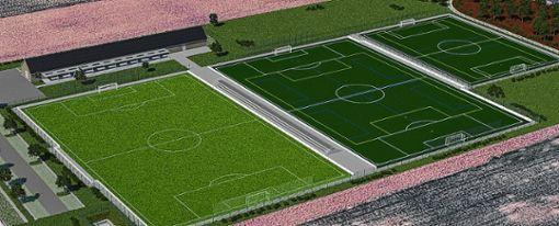 Darstellung des Sportareals West mit seinen zweieinhalb Plätzen und dem Vereinsheim mit Gaststätte. (Grafik) Foto: zVg