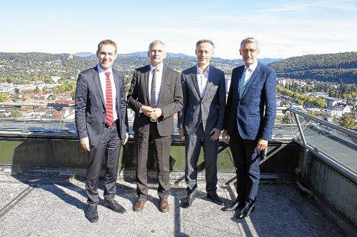 Jörg Lutz,   Sven Hantel,  Michael Wilke und  Armin Schuster auf der Dachterrasse des Rathauses    Foto: zVg Foto: Die Oberbadische
