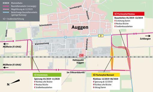 Die Karte zeigt die Standorte der Überführungen sowie den neuen Standort der Straßenüberführung Fischerpfad. Foto: zVg/Deutsche Bahn