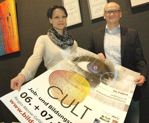 Martina und Markus Hug wollen das Profil der Job- und Bildungsmesse schärfen.  Foto: Marco Fraune Foto: Die Oberbadische