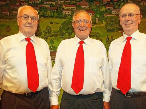 Vorsitzender Reiner Oeschger (von rechts) ehrt Werner Kessler und Rolf Wetzel.   Foto: Petra Wunderle Foto: Die Oberbadische