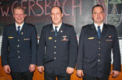 Führungswechsel im Kommando: (von links) Benjamin Ühlin, Mark Ühlin und der neue Stellvertreter Stefan Blum. Foto: Gerd Sutter