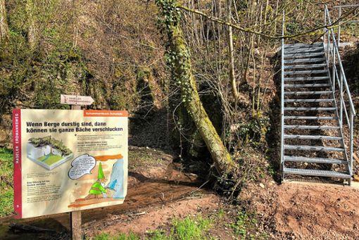 An der Bachschwinde des Haseler Erdmannswegs gibt es nun statt einer Holz- eine Metalltreppe.     Foto: zVg Foto: Markgräfler Tagblatt