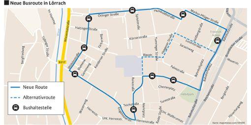 Auf der Linie 8 soll stündlich eine zusätzliche Schleife vom Kreiskrankenhaus über den Busbahnhof in das Gebiet Wölblin (Ötlinger-, Wölblin- und  Teichstraße) in Form eines Anrufsammeltaxis angeboten werden.     Grafik: Die Oberbadische Foto: Die Oberbadische